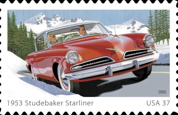 Front Right Red and White 1953 Studebaker Starliner Stamp Picture